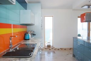 kitchen with sea view